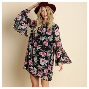 Beautiful Floral Bell Sleeved Dress
